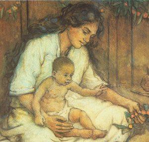 Charles W Bartlett - Hawaiian Mother and Child