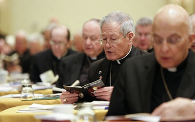 Members of the U.S. Conference of Catholic Bishops pray before the second day of proceedings at the bishops' annual fall meeting Nov. 12 in Baltimore. (CNS photo/Nancy Phelan Wiechec)