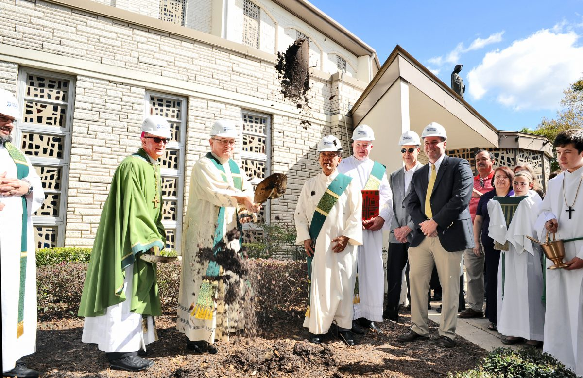 Bishop John Noonan and Father Richard Walsh, pastor of St. Margaret Mary Parish in Winter Park, break ground on a church renovation project. Construction is expected to be completed in October 2015. (JACQUE BRUND | FC)