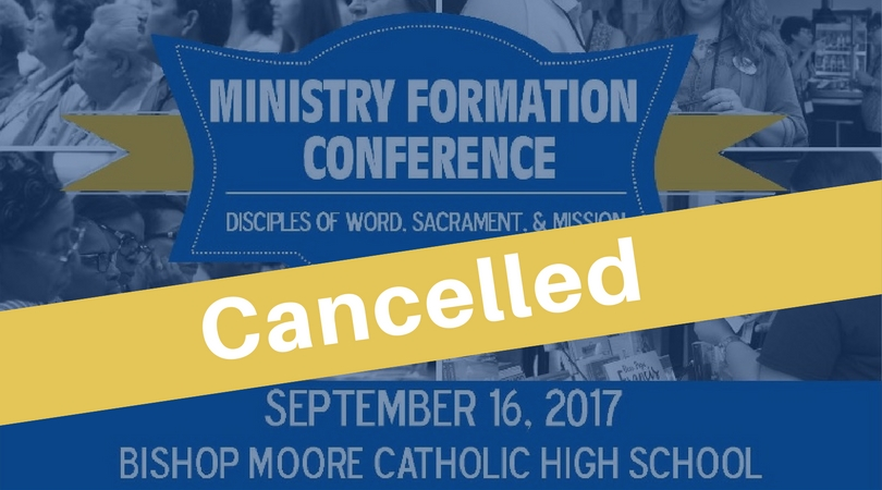 Ministry Formation Conference is cancelled