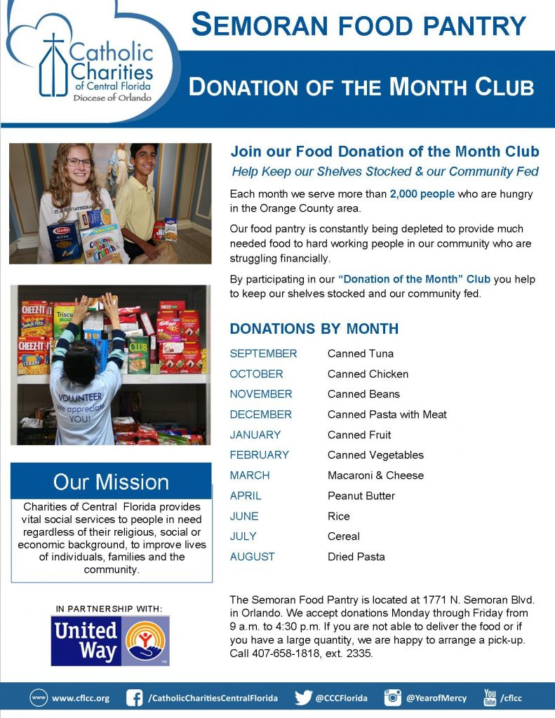 Food Pantry Donation of the Month Club